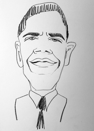 Karikaturskizze Obama