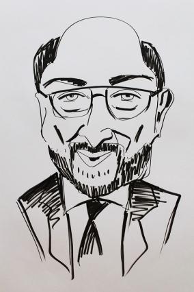 Karikaturskizze Schulz