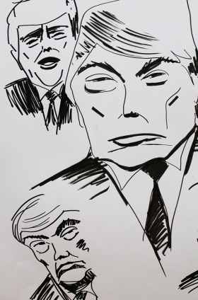 Karikaturskizze Trump